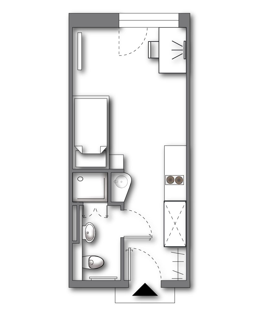 "Standard Apartment <br>  <span style=""font-size:12px"">  approx. 20 sqm (some plus terrace); ALL-IN-RENT starting from 390 € p.m. </span>"